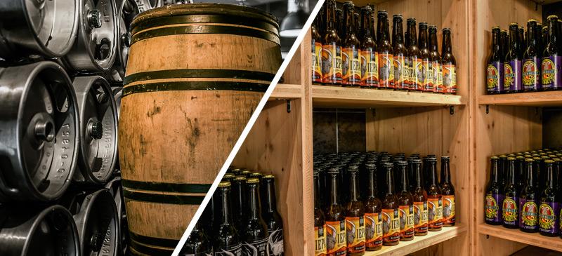 Les bières Akerbeltz en bouteilles et en fûts